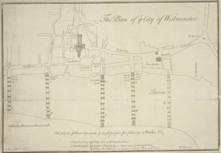 The Plan of ye City of Westminster [showing five locations proposed for the placing of a new bridge]